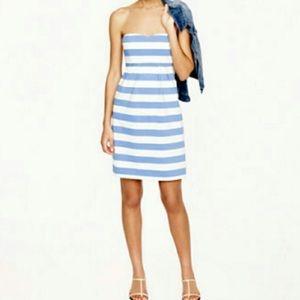 J Crew blue and white strapless dress